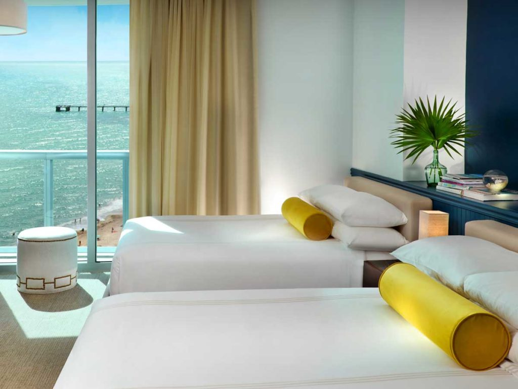 Guestroom with double Queen beds, at Solé Miami